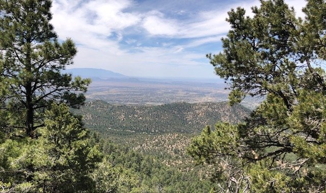 On top of Atalya with Santa Fe below & the Jemez mt.